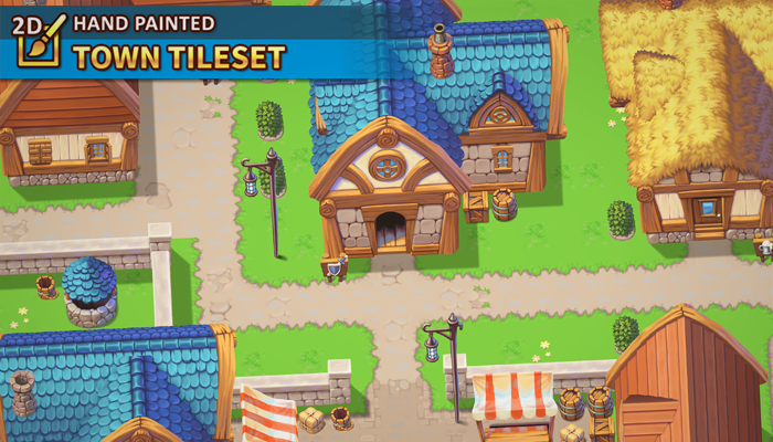 2D Hand Painted – Town Tileset