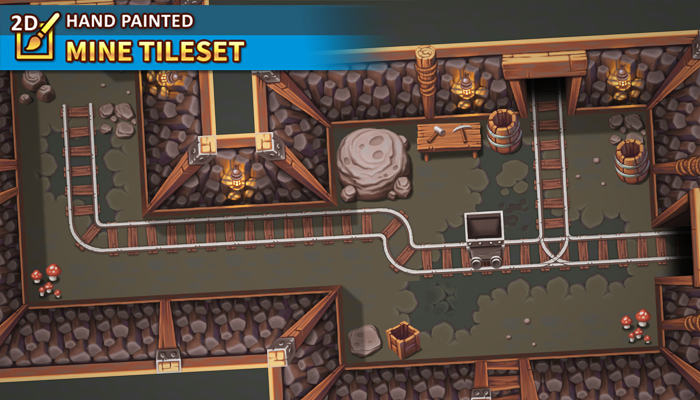 2D Hand Painted – Mine Tileset