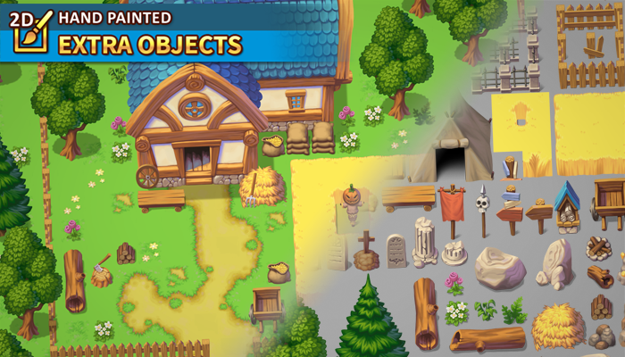 2D Hand Painted – Extra Objects Tileset