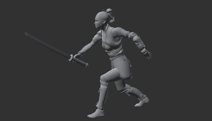 Female Warrior with Rig and Animation