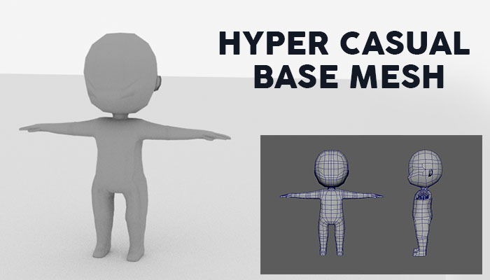 hyper casual character base mesh low poly