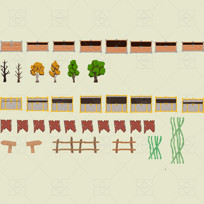 2D CHEST, TREES, FENCE, AND MUCH MORE.
