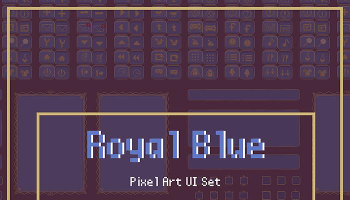 Royal Blue Modular Animated Pixel UI