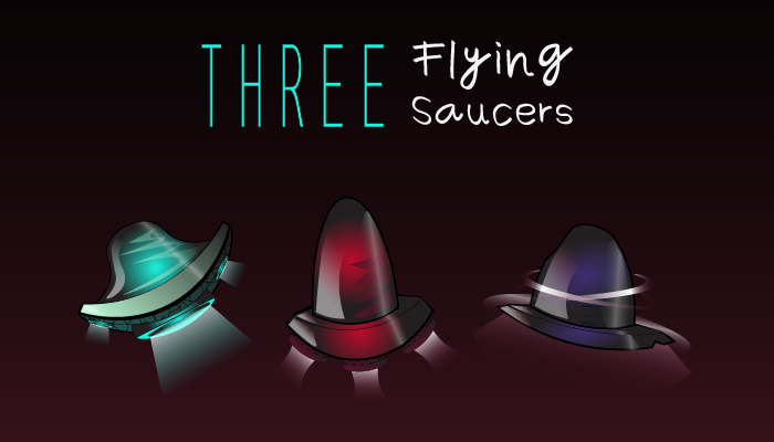 Three Flying Saucers Vector