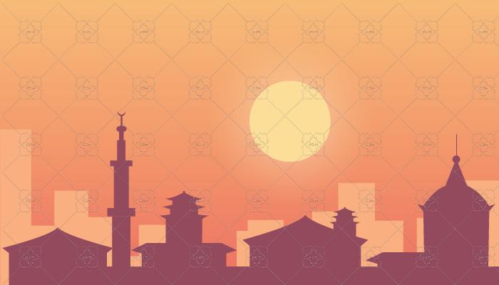 City sunset Background