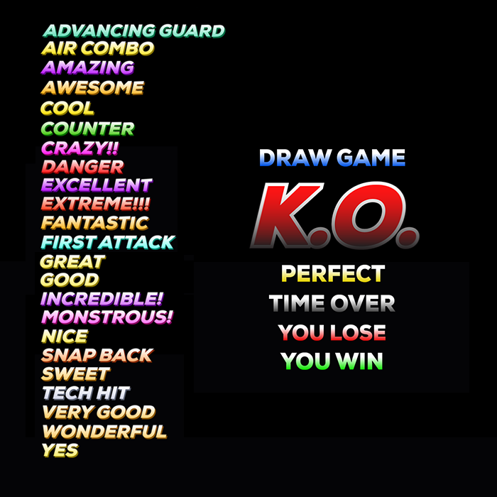 Fighting game announcer messages pack
