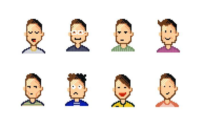 Set of pixel avatars