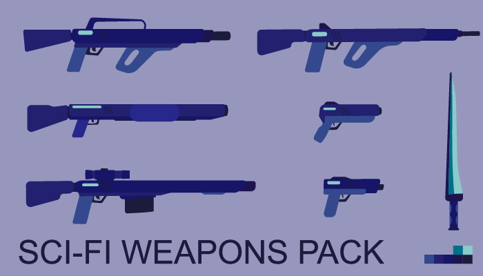 Sci-fi flat weapons pack