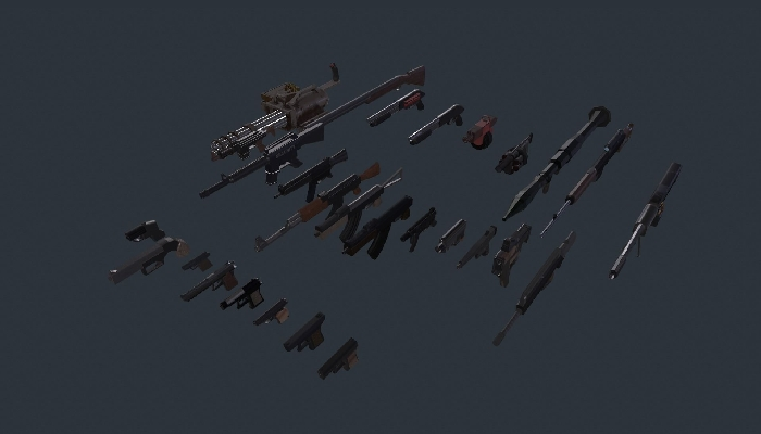 Low poly stylized gun pack