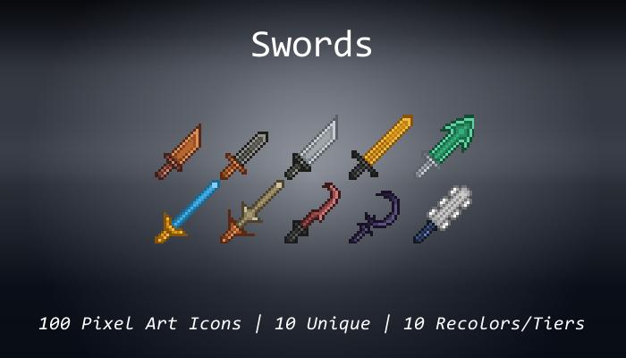 Pixel Art Icons – Swords – 24×24