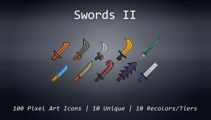 Pixel Art Icons – Swords II – 24×24