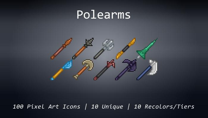 Pixel Art Icons – Polearms – 24×24