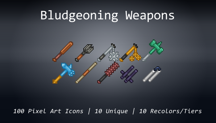 Pixel Art Icons – Bludgeoning Weapons – 24×24