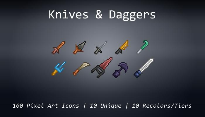 Pixel Art Icons – Knives & Daggers – 24×24