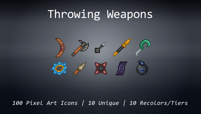 Pixel Art Icons – Throwing Weapons – 24×24