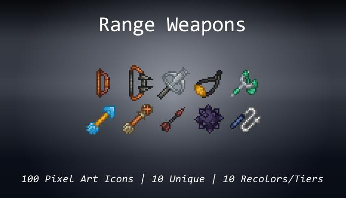 Pixel Art Icons – Range Weapons – 24×24