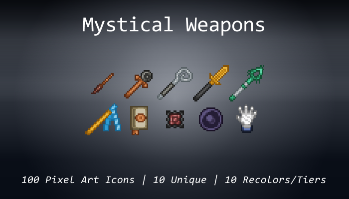 Pixel Art Icons – Mystical Weapons – 24×24