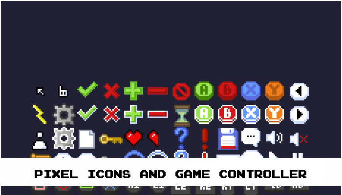 Pixel icons and Game controller