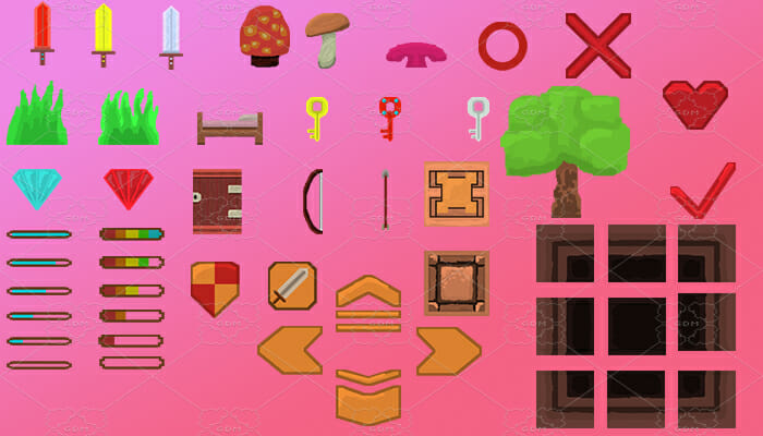 Various blocks, swords, diamonds, (buttons for icons ) and much more