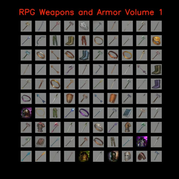 RPG Weapons and Armor 64×64 Volume 1-10