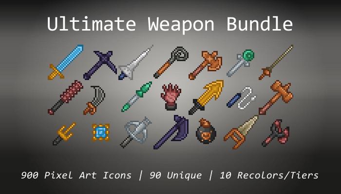 Pixel Art Icons – Ultimate Weapon Bundle – 24×24