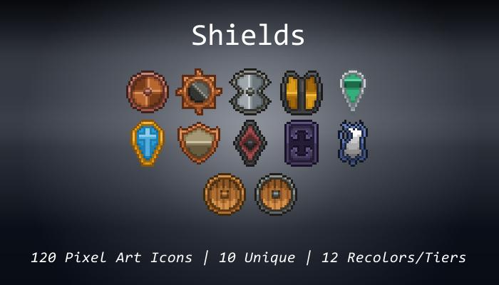 Pixel Art Icons – Shields – 24×24