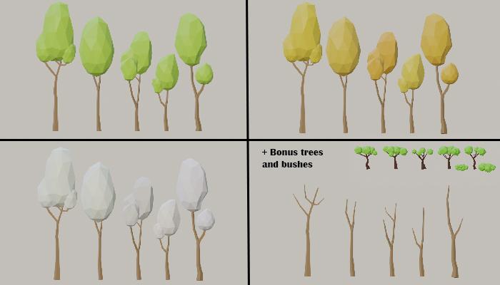 Low Poly Tree Pack (in 4 seasons)