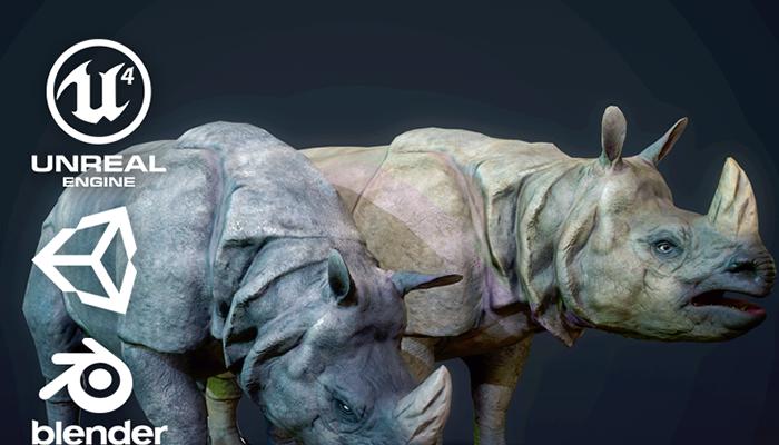 Indian Rhinoceros – Game Ready