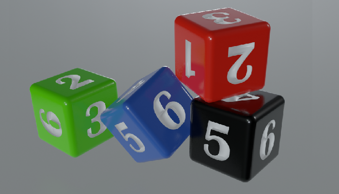 3D Dice in four colour