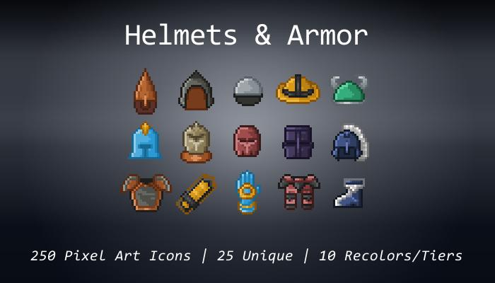 Pixel Art Icons – Helmets & Armor – 24×24