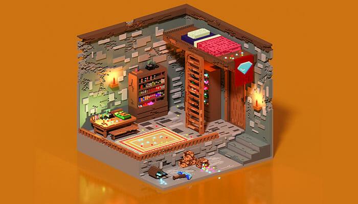 Voxel Gem miner room