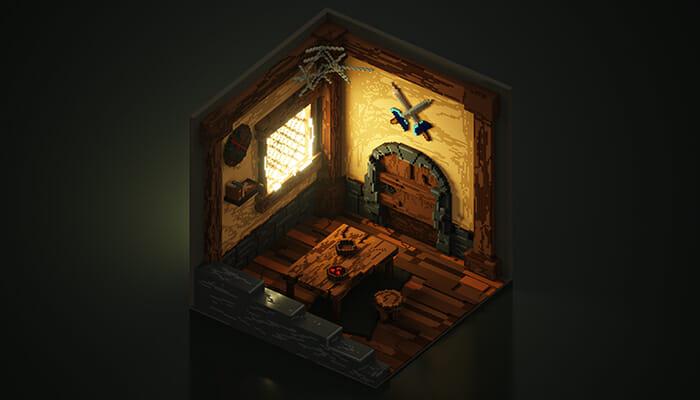 Voxel 3D Render of isometric Warrior's Room