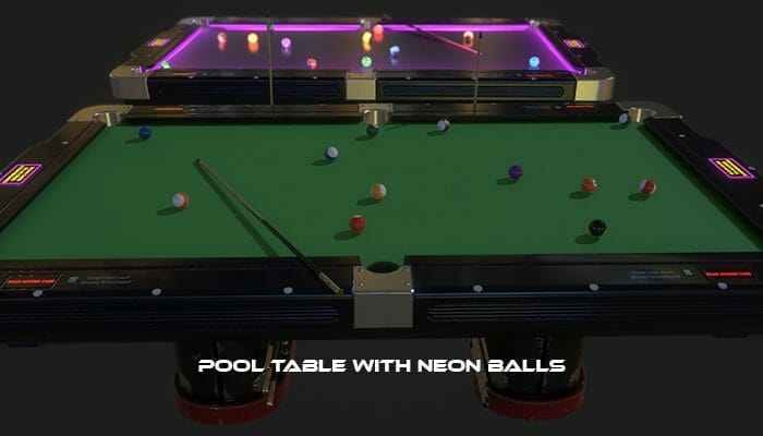 Pool Table with Neon Balls