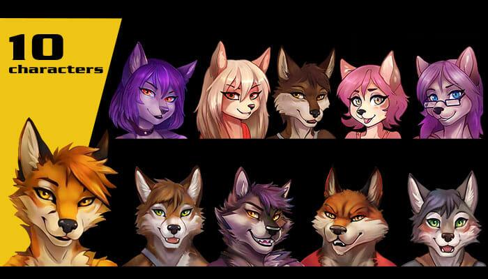 Character anime furry animal avatars (high resolution)