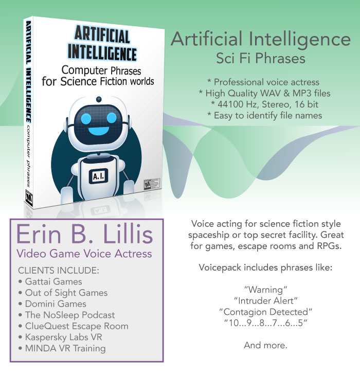 Artificial Intelligence – Robotic voice pack (female) for science fiction