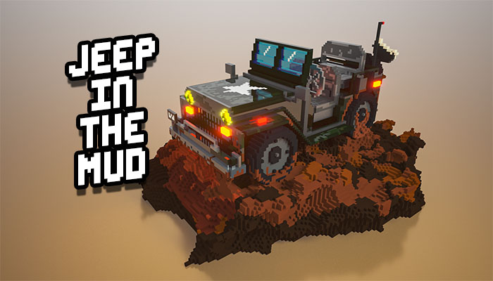 3D military Jeep in mud voxel art