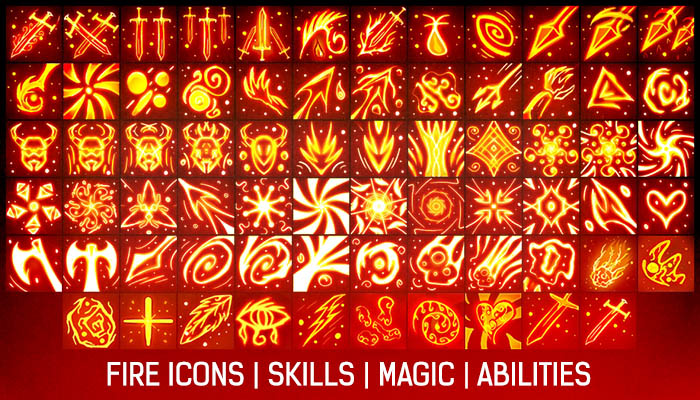 Fire Skills & Ability icons Pack[+70]
