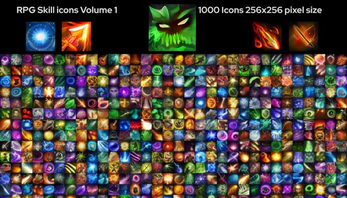 1000 RPG skill icons 256×256 Volume 1