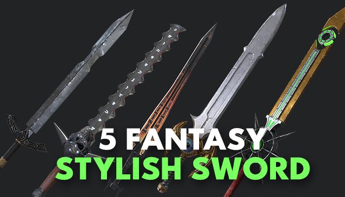 5 Fantasy Sword – PBR- Low Poly