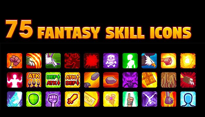 75 Fantasy Skill Icons