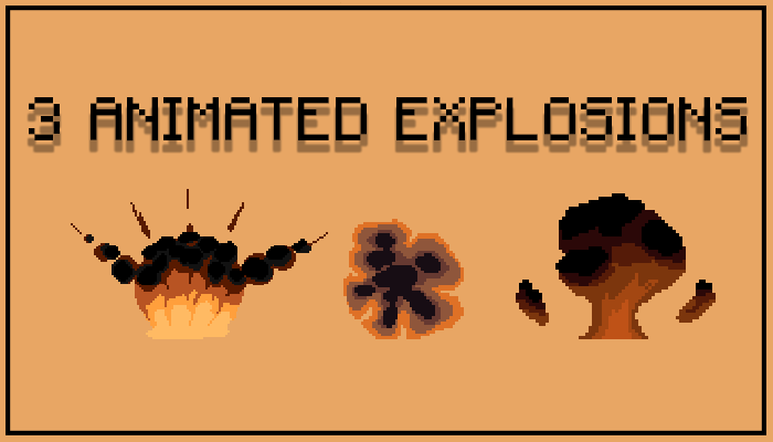 3 Pixel Art Explosions