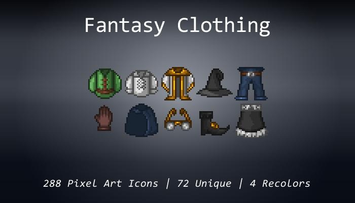 Pixel Art Icons – Fantasy Clothing – 24×24