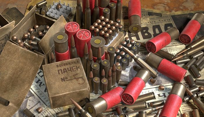 Ammunition: Bullets and Shell casings.