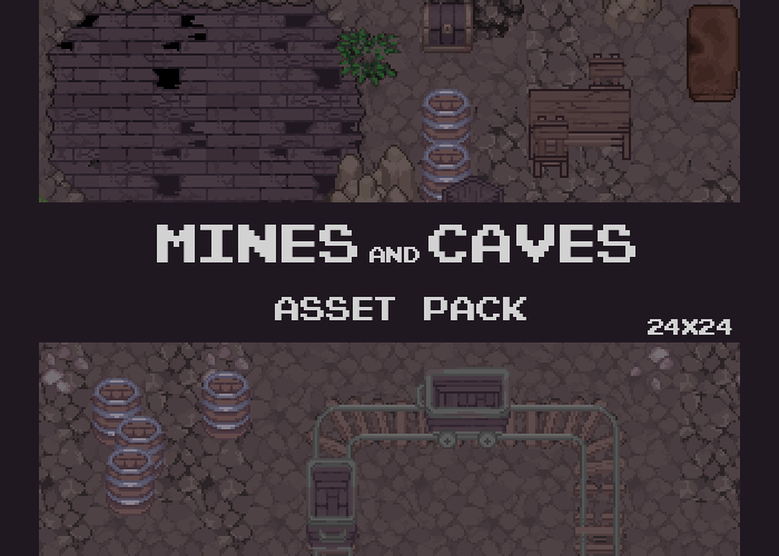 Caves and Mines Pixel Tileset