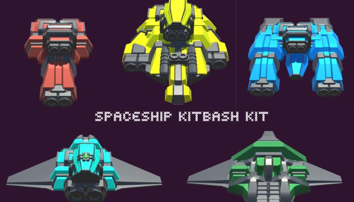 Lowpoly Spaceship kitbash kit