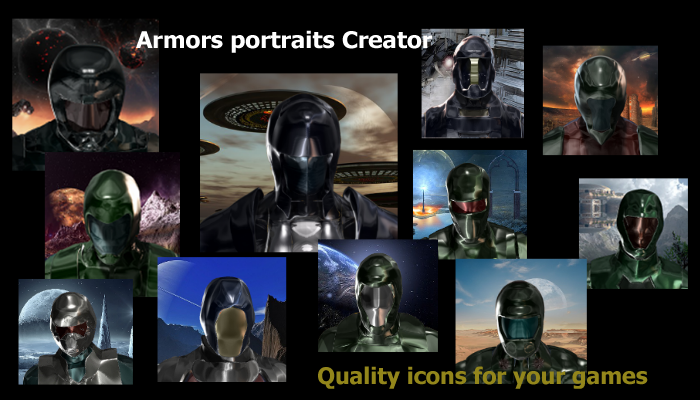 Sci-Fi Armors Portraits Images and Icons Pack Set