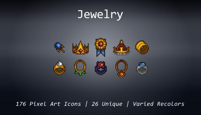 Pixel Art Icons – Jewelry – 24×24