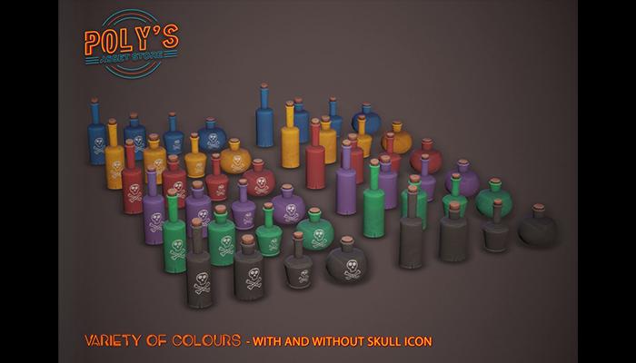 Potion Bottles – 6 colours – Stylized Low-poly 3D model