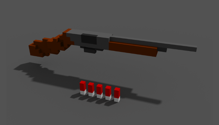 Low Poly Shotgun with Ammunition – Made in MagicaVoxel
