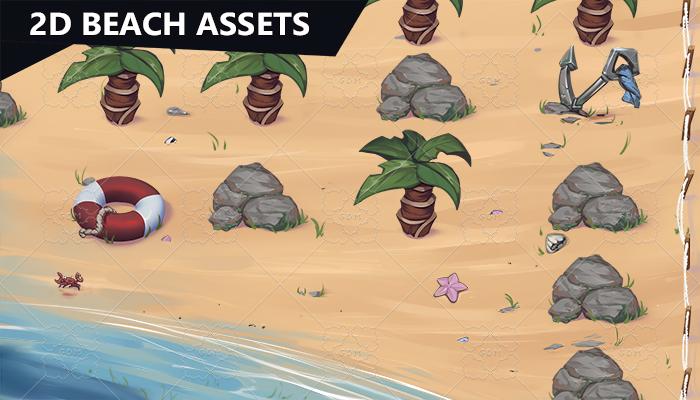 2D Game Beach Assets